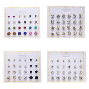 Rinhoo 12pairs Crystal Simulated Pearl Earrings Sets For Women Colorful Round Ear Stud Earrings Wedding Jewelry Box Earrings