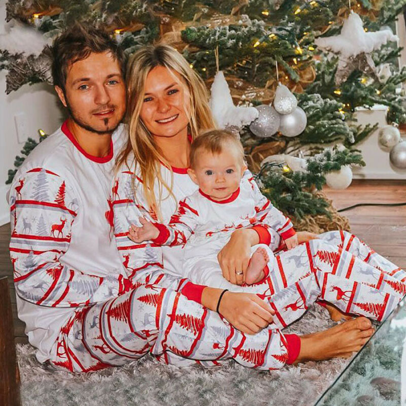 Pudcoco 2PCS Christmas Family Matching Pyjamas PJS Set Xmas Stripe Sleepwear Nightwear Gifts For 2019 Christmas