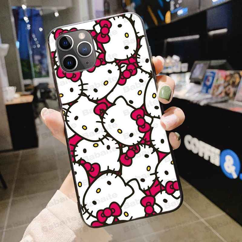 Hello Kitty Zwart Tpu Soft Phone Case Cover Voor Iphone X Xs Max 6 6S 11pro 7Plus 8plus 5S Se Xr Case