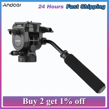 Fluid Hydraulic Ball Head Panoramic Photography with Handle for 1/4 inch Screw Camera Camcorder and 3/8 inch Monopod Tripod