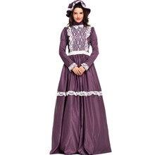 Las mujeres adultas Prairie señora histórico colonial de disfraz de Halloween Vintage corte princesa medieval traje