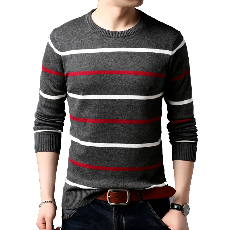 BROWON Men Brand Sweater Casual Slim Fit Sweaters Men Striped O-Neck Sweater Men Clothing Pullovers Sweater For Men