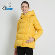 ICEbear 2019 new winter women #8217 s coat brand clothing casual ladies winter jacket warm ladies short hooded Apparel GWD19011 cheap Ages 18-35 Years Old zipper GWD19011I Full Polyester Sustans Thick (Winter) Broadcloth Wide-waisted Solid REGULAR 1 05kg