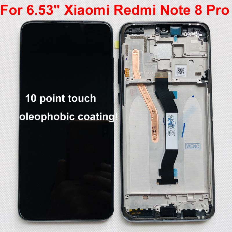 "Original New For 6.53"" Xiaomi Redmi Note 8 Pro LCD Display Screen+Touch Screen Digitizer With Frame For Redmi Note 8 Pro LCD(China)"
