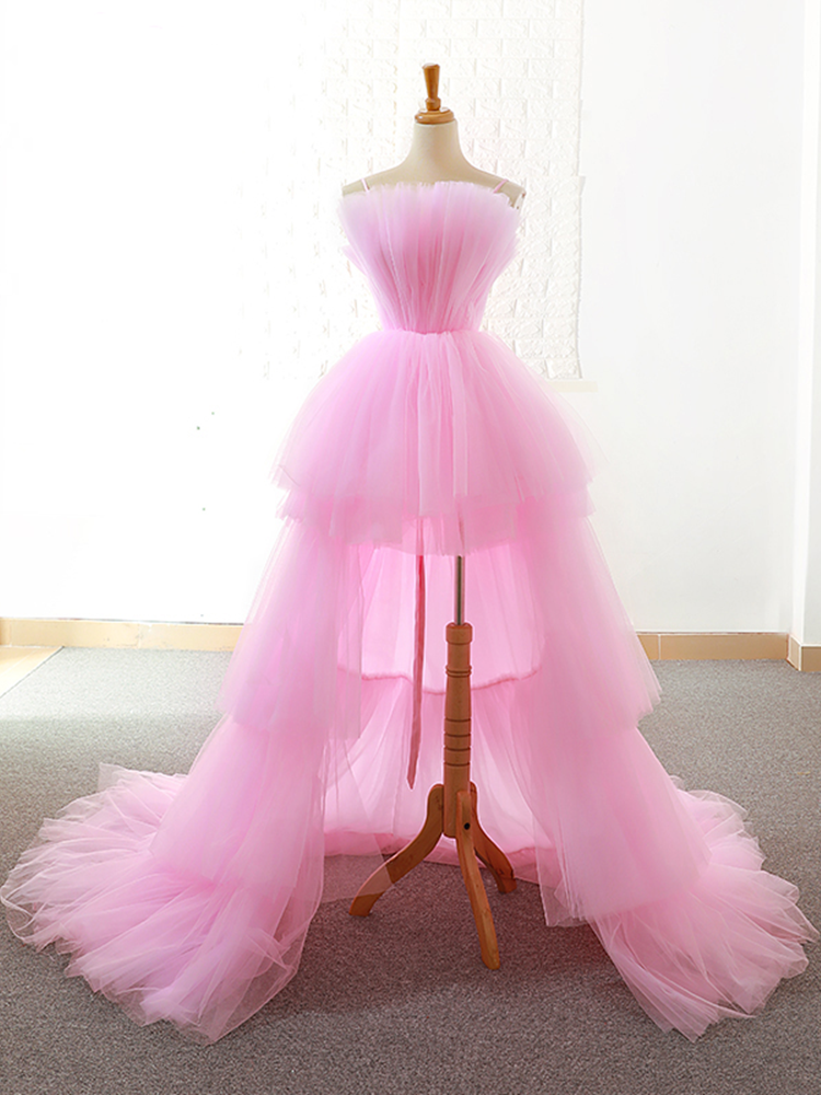 Homecoming-Dresses Party-Dress Evening-Gowns Graduation Formal Pink Front Short Tiered