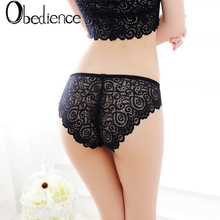 Black Lace Floral Briefs Thongs Women Underwear Sheer Transparent Panties Seamless Breathable G-string girls gifts
