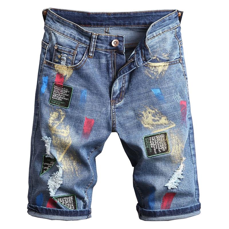 Pantalones Cortos De Mezclilla Pintados De Colores Bordados Con Insignia Para Hombres Pantalones Vaqueros Rasgados Con Agujeros De Verano Pantalones Rectos Delgados Pantalones Vaqueros Aliexpress