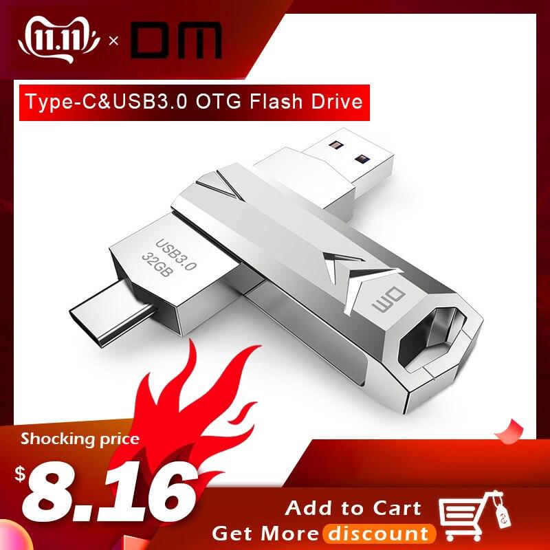 DM PD098 USB Flash Drive 32GB OTG Metal USB 3.0 Pen Drive Key USB Flash Type C High Speed Pendrive Flash Drive Memory Usb Stick