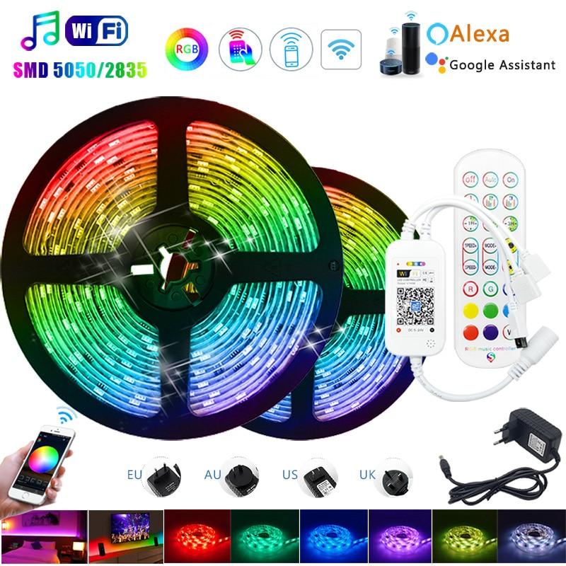 Nova música wi-fi luces led tira luz 5m 10m 15 5050 smd 2835 fita flexível rgb fita diodo + adaptador dc12v para decoração de casa
