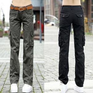 Image 1 - Женские брюки 2020, женские тренировочные хлопковые брюки карго в стиле милитари, женские прямые брюки с несколькими карманами