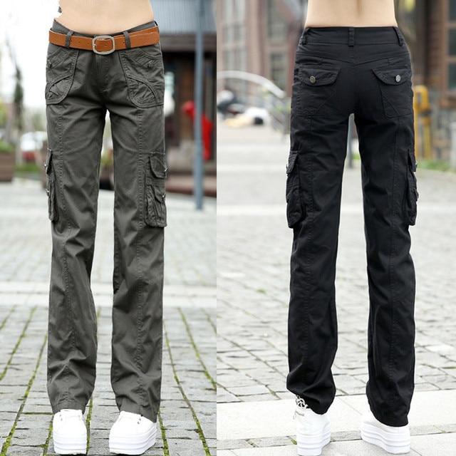 Женские брюки 2020, женские тренировочные хлопковые брюки карго в стиле милитари, женские прямые брюки с несколькими карманами