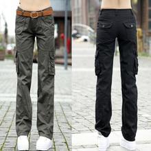 Pantalones de talla grande para mujer, pantalón de entrenamiento de algodón, pantalones militares de combate, pantalones Cargo, Pantalones rectos con múltiples bolsillos, 2020