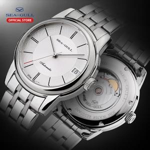 Image 1 - Seagull mens watch business steel belt automatic mechanical watch waterproof leather buckle sapphire mens watch D816.405