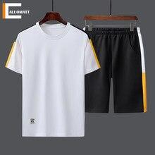 Listra conjunto de verão casual de manga curta treino dos homens magro t-shirts 2 pc + shorts masculino jogging fitness esportes ternos