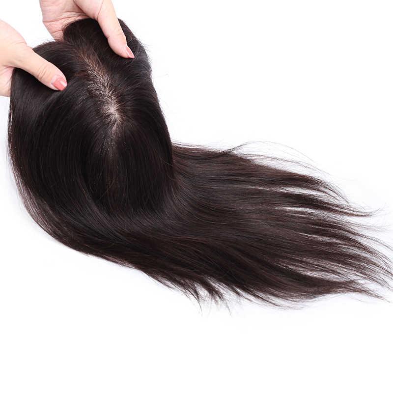 SEGO 15x16cm 인간의 머리카락 토퍼 가발 여성을위한 통기성 실크베이스 5 클립 머리카락 Toupee 비-레미 헤어 피스 자연 색상