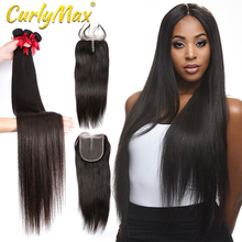 Straight 8 28 30 32 Inch Bundles Brazilian Remy Hair 100% Human Hair weaves 3 4 Bundles With Closure for women