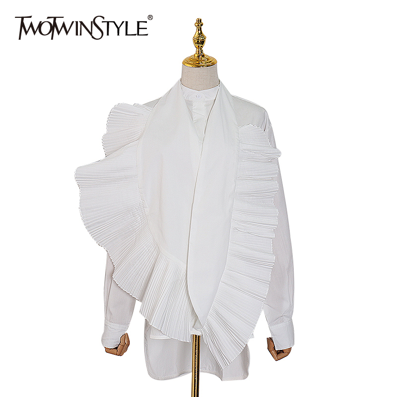 TWOTWINSTYLE Patchwork Ruffles Asymmetrical Women Shirt Stand Collar Long Sleeve Loose Pleated Blouse Female Fashion Clothes New