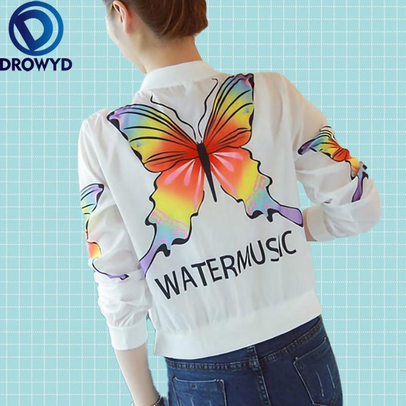 Women Thin V-neck Coat Summer White Print Floral Casual Long Sleeve Tops Transparent Jacket Fashion Streetwear Plus Size Jacket