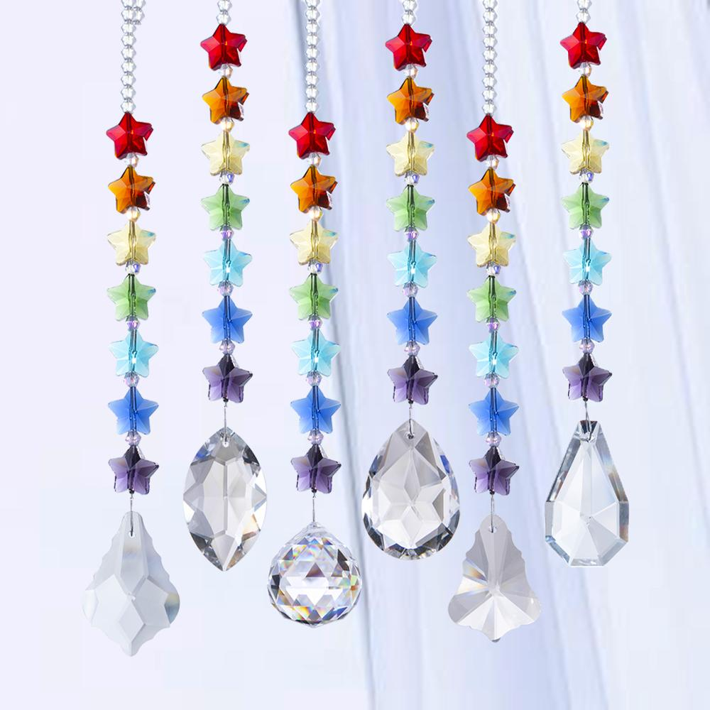H&D Chandelier Crystals Prisms Suncatchers Rainbow Window Curtains Chakra Sun Catchers With Five Star Beads Home Decor, Set Of 6