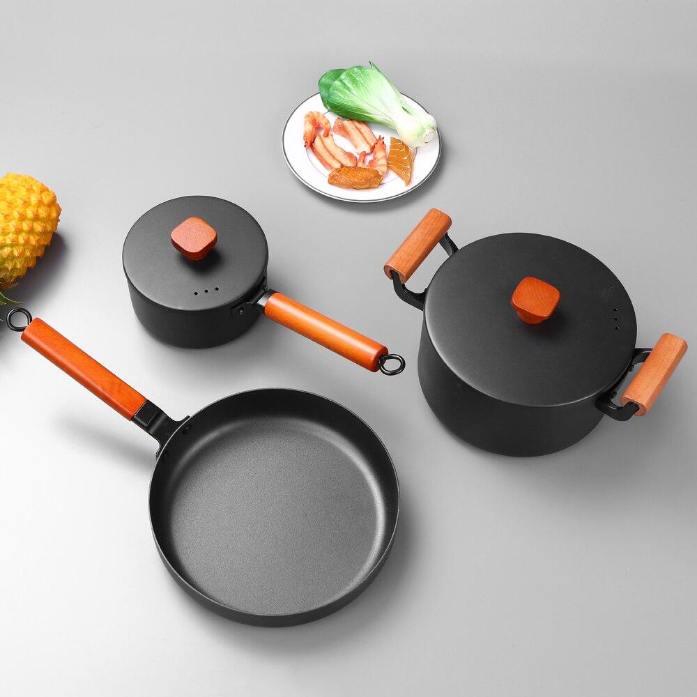 Ensemble de 3 casseroles en fer de pièces/ensemble ensemble de 3 casseroles en fer antiadhésif