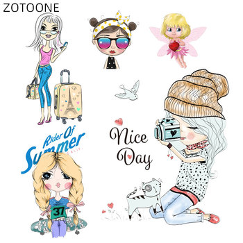 ZOTOONE Iron on Comic Girl Patches for Clothing Cartoon Cat Stickers DIY Patch for Kids Heat Transfers Bag Clothes Appliqued H image