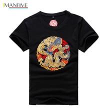 2019 New Design Cotton Embroidery Dragon T Shirt Mens Fashion Summer Men High Quality Clothing