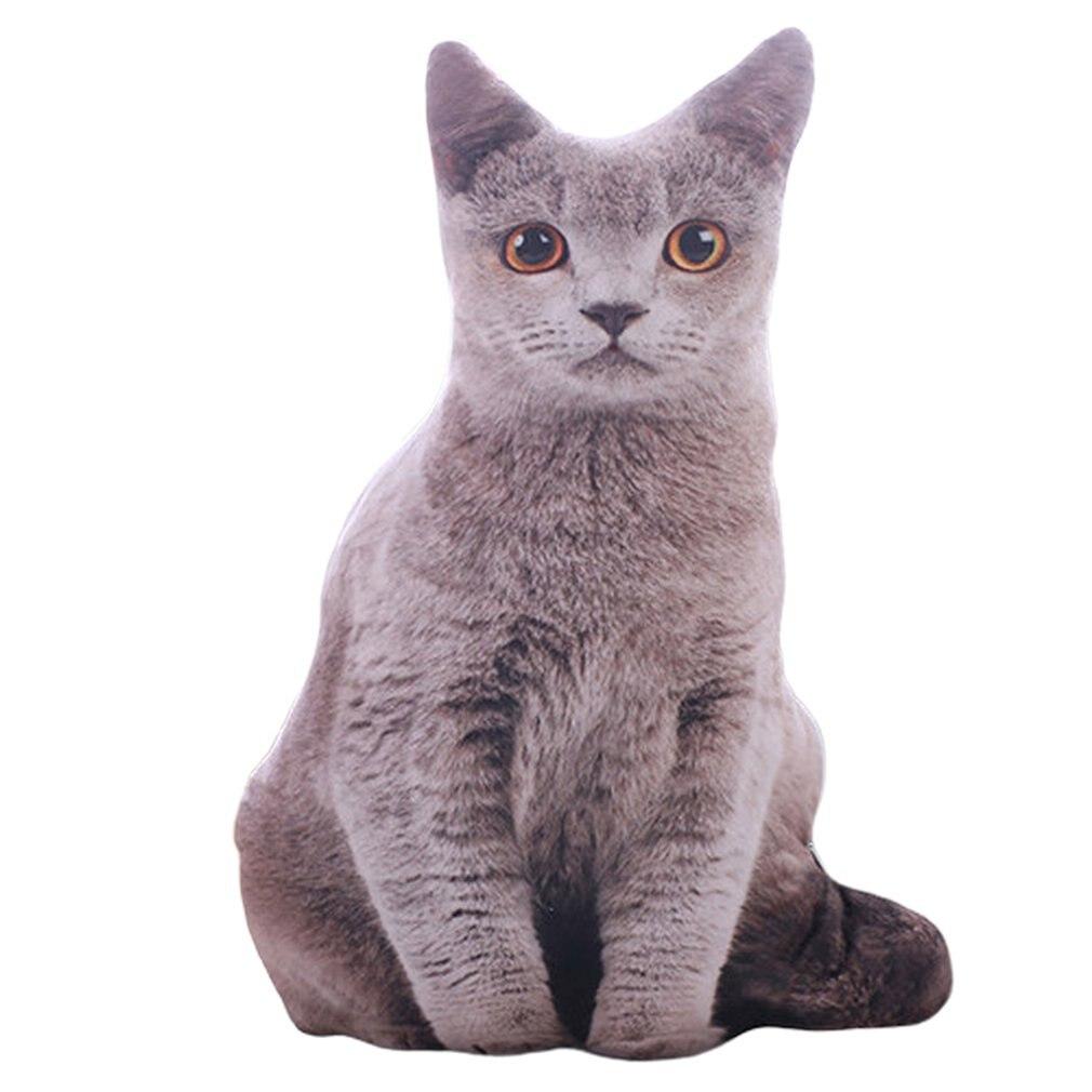 50cm 3D Simulation Plush Cat Pillows Cute Cat Soft Stuffed Animals Cushion Sofa Decor Cartoon Plush Toys For Children Kids Gift