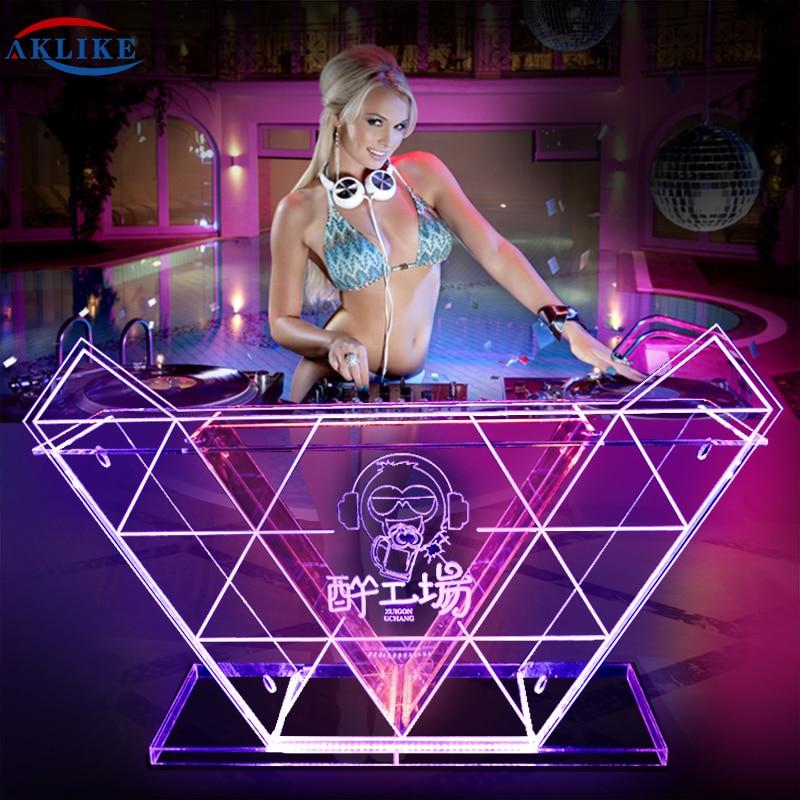 Illuminated DJ Table AKLIKE Custom DJ Booth With Dynamic LED Lights DJ Booth