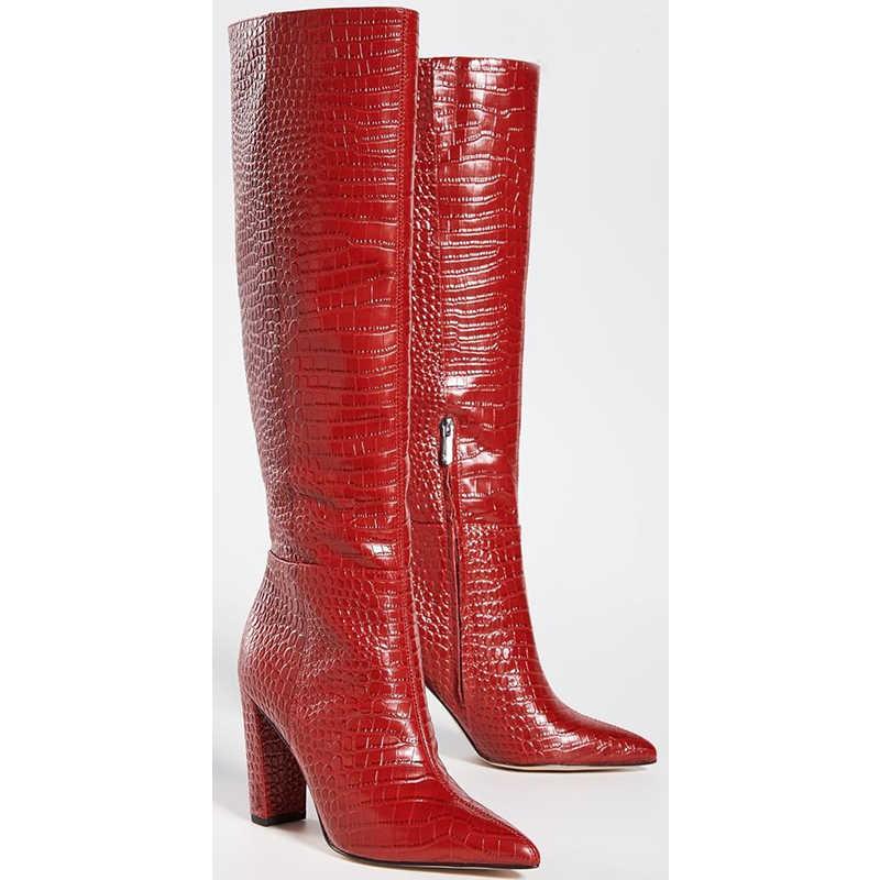 Mode Rode Koe Materiaal Laarzen Chunky Heel Puntschoen Zipper Runway Schoenen Python Afdrukken Outfit Vrouwen Schoen Custom Made