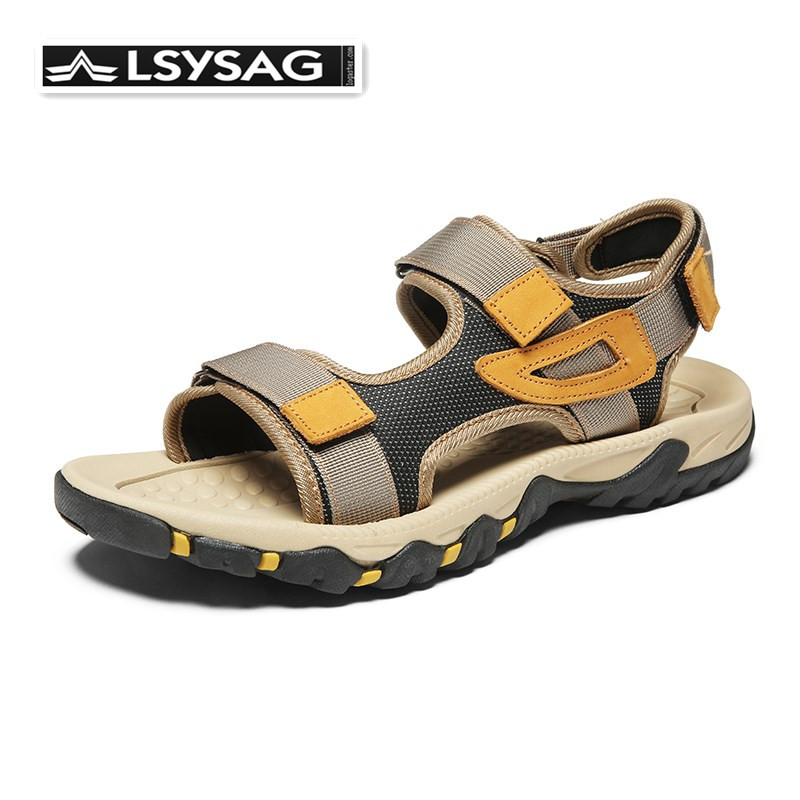 New Men Sandals Fashion Summer Leisure Beach Men Shoes High Quality Leather Sandals Outdoor Casual Sneakers Bis Size 39-47