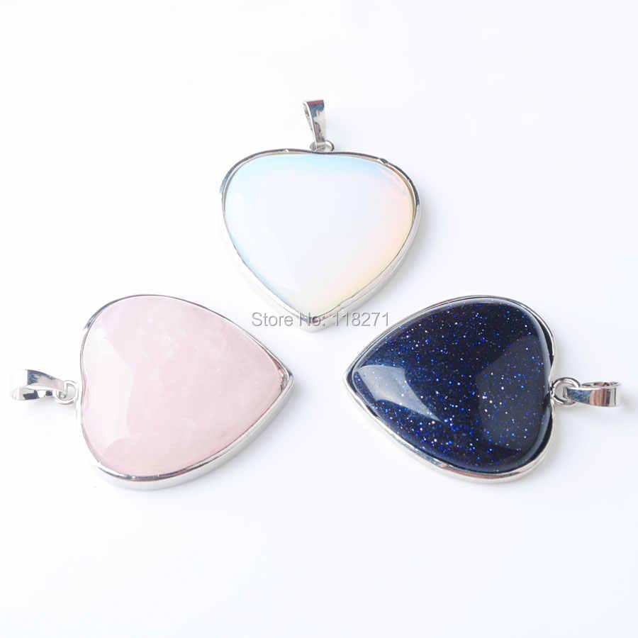 ナチュラル宝石の石ビーズハートシルバーメッキ治癒レイキチャクラネックレスペンダントジュエリー 1 個 PBN318
