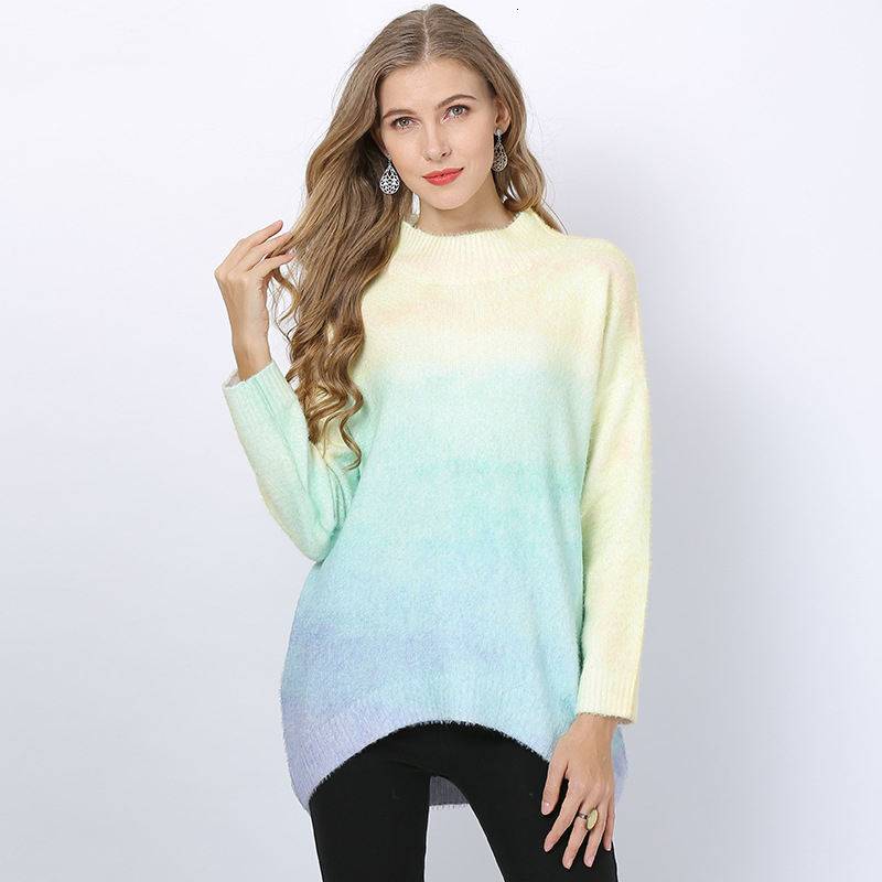New Autumn Winter Pullovers Round Neck Sweater Woman Contrast Color Loose Bat Sleeve Knitting Pullover Female Jumper Pull Femme