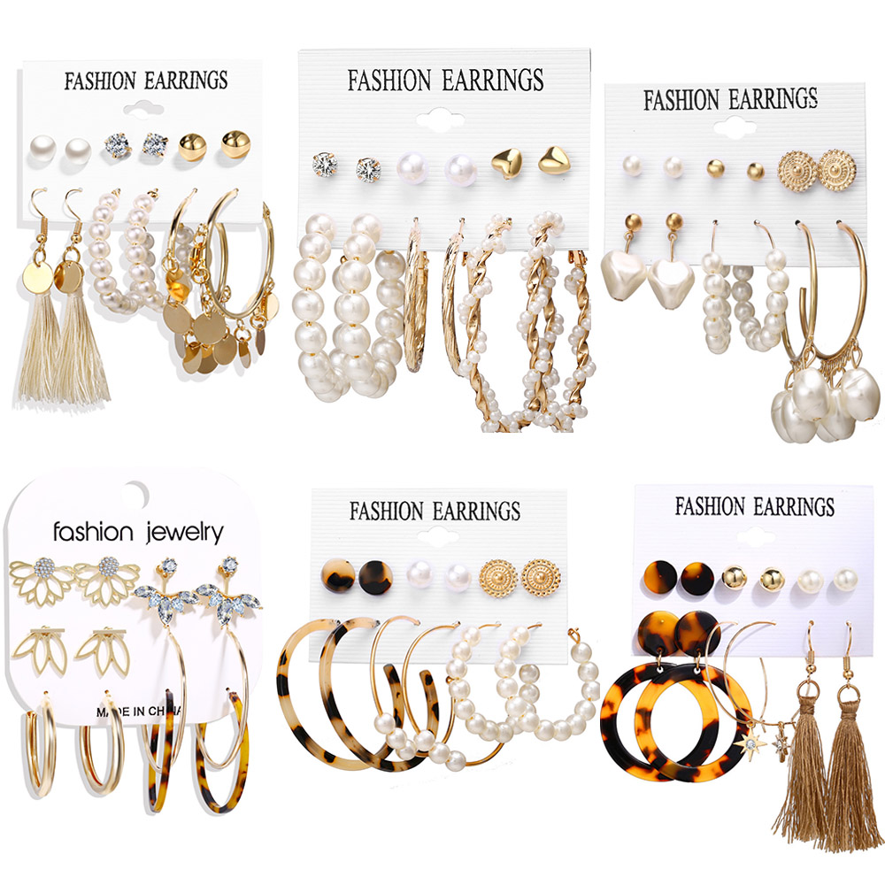 Oversized Earrings Set Pearl Acrylic Dangle Drop Earrings For Women Big Circle Leopard Bohemia Brincos Fashion Jewelry 2019 New