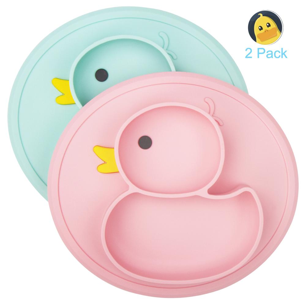 Qshare 2pcs Baby Plates Duck Dishes Mat Silicone Platos Suction Tray Antislip Children Meal Fruits Feeding Baby Dinner Plate