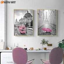 Rosa moderno cidade parede da lona pintura sala de estar decoração imagem preto branco minimalismo arte da parede cartaz sala de estar decoração