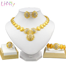 LifflyNigeria Women's Jewelry Sets Large Round Cutout Pendant Crystal Necklace Earrings Ring Bracelet Indian Bridal Jewelry Sets(China)