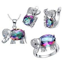 Fdlk Мистик Радуга слон кулон ожерелье серьги кольцо набор украшений
