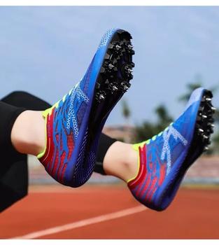 Profesjonalne męskie i damskie buty sportowe lekkoatletyczne młodzieżowe buty do biegania kolce trampki Unisex lekkie trampki do biegania tanie i dobre opinie Mangobox CN (pochodzenie) Syntetyczny Hard court Oddychające Masaż Średnie (b m) Bezpłatne elastyczne Lace-up Spring2019