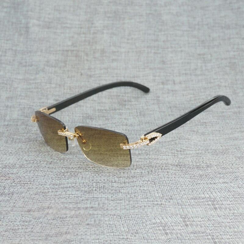 Горный хрусталь черный, Белый Цвет рога буйвола оправы солнцезащитных очков Для мужчин натурального дерева солнцезащитные очки ретро Отте... - 4