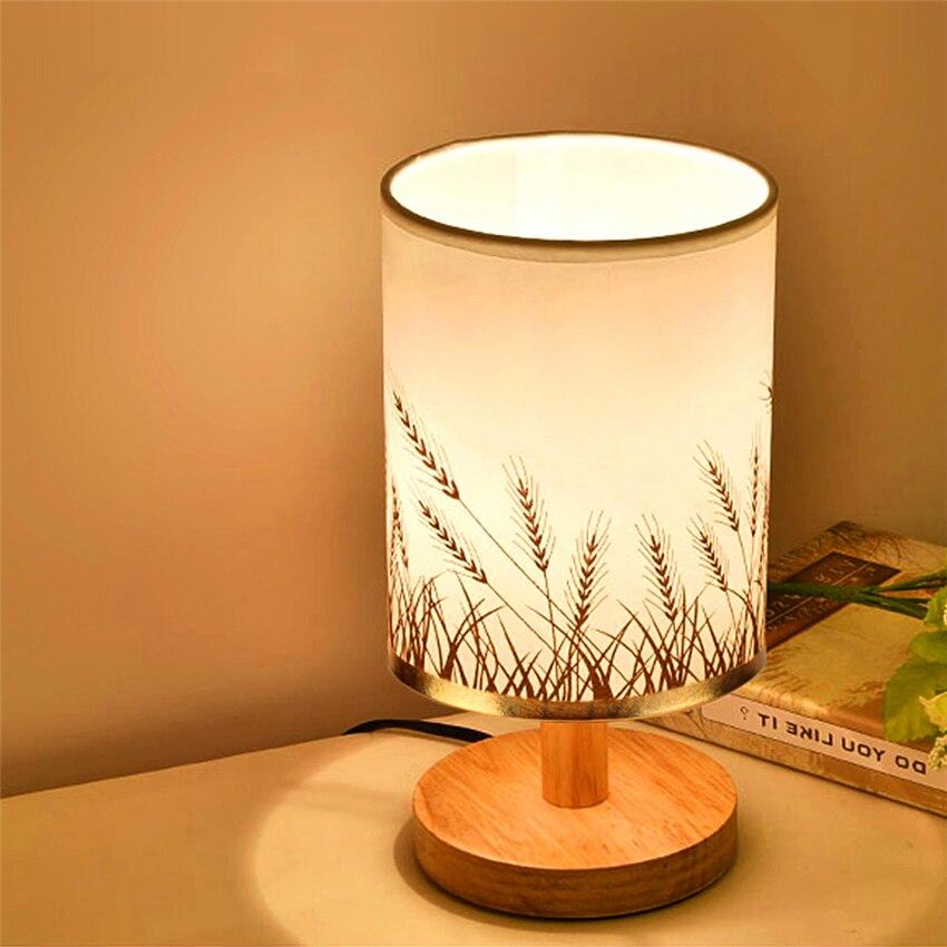 Современная настольная лампа деревянная светодиодная прикроватная декоративная настольная лампа для чтения гостиная ресторан стол для уч...
