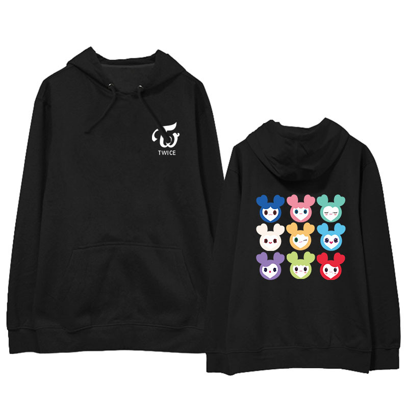 KPOP TWICE LOVELYS Album Hoodie Hip Hop Casual Loose Hooded Clothes Pullover Printed Long Sleeve Sweatshirts WY1148