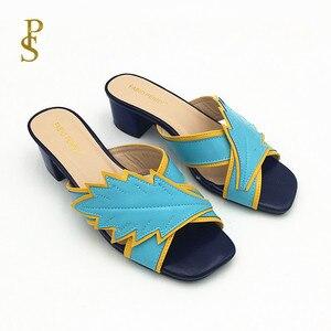 Image 1 - Pantoufles colorées assorties, chaussures à talons bas pour femmes, chaussures pour femmes