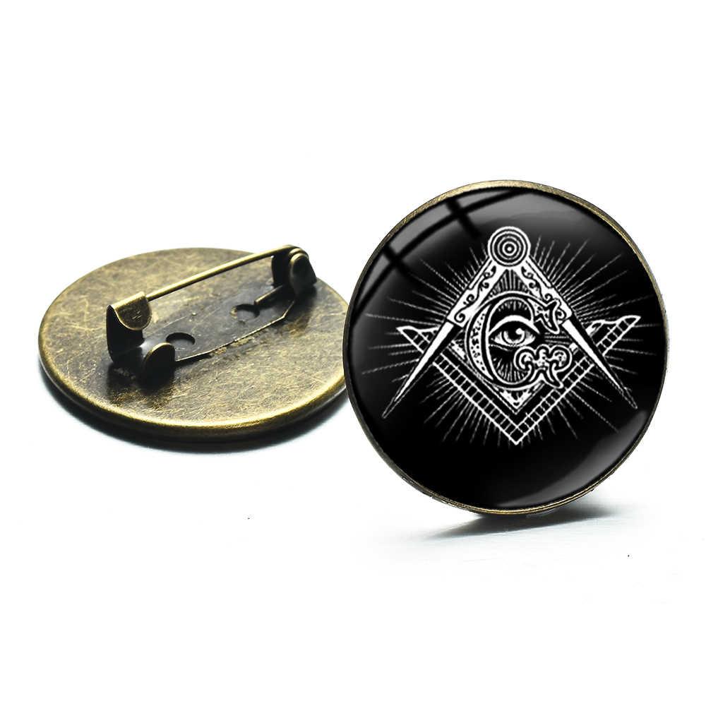 Broche de ojo de pirámide masónica, símbolo G de Masonería, brújula de cristal, cabujón para hombres, traje, camisa, solapa, pines, insignia Vintage de Freemason