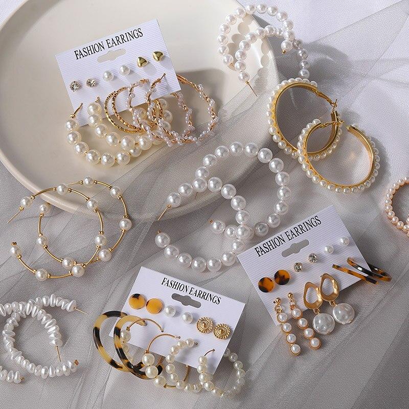 X&P New Fashion Round Big Pearl Earrings For Women Korean Vintage Circle Dangle Drop Earrings Set 2020 Fashion Women's Jewelry