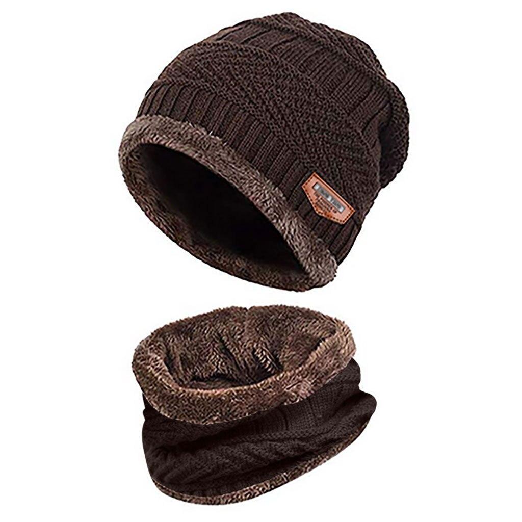 Мужская теплая шапка Skullies+ мягкий шарф, комплект из двух предметов, зимняя утолщенная шапка, Мужская ветрозащитная вязаная шапка, грелка для шеи# T5P - Цвет: Coffee