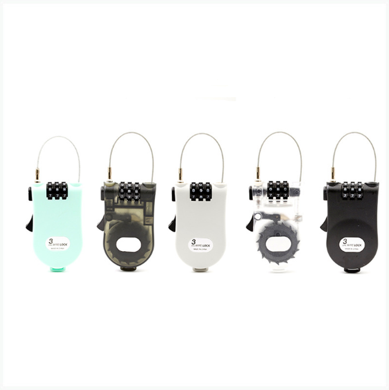 Portable Retractable Bike Bicycle Combination Cable Code Lock Helmet Luggage Safety 3 Digit Padlock Bicycle Rock Password Lock
