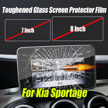 7/8 inch Toughened Glass Screen Protector Film Fit Car GPS Navigation For Kia Sportage 2016 2017 KX5 LCD Control Screen Sticker image