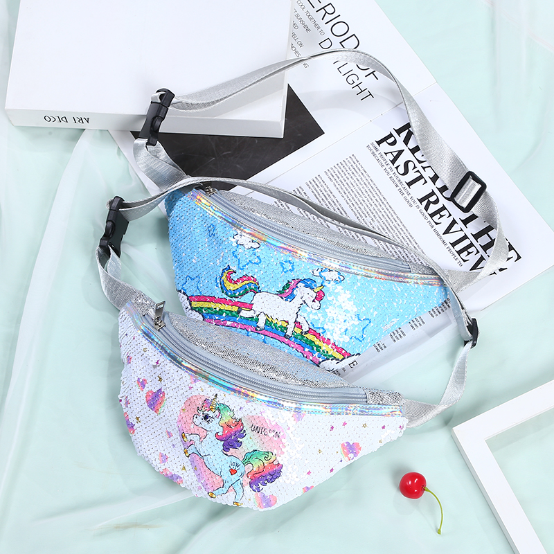 Cartoon Fanny Pack Women Sequins Waist Bag For Kid Girl Cute Phone Chest Bag Ladies Shoulder Belt Bags Kids Fanny Packs
