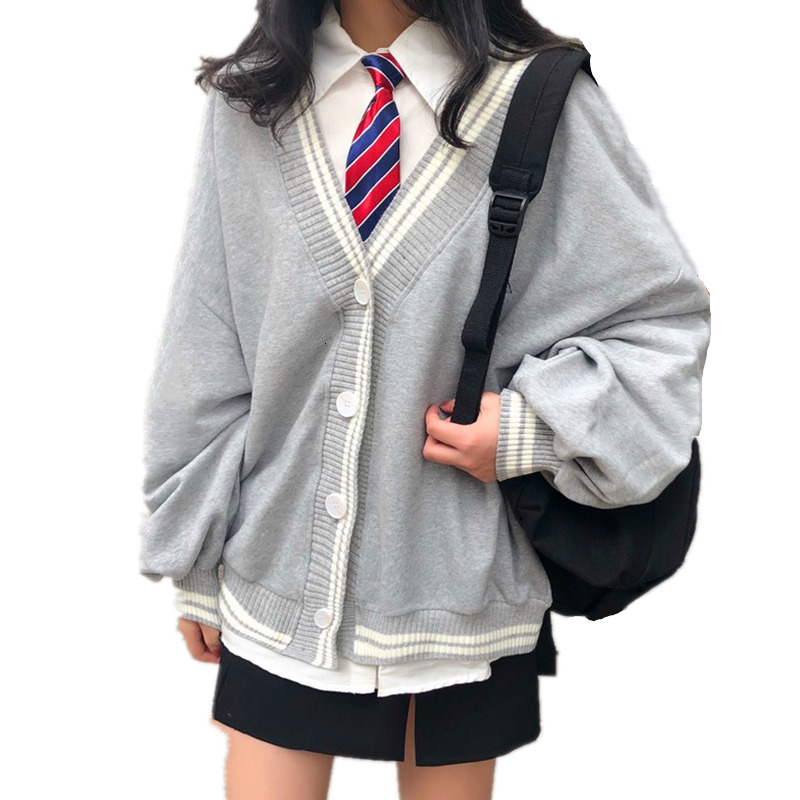 British School Uniform Jk College Style Knit Cardigan Top Fashion V-neck Embroidery Letter School Girls Soft Sister Plus Sweater