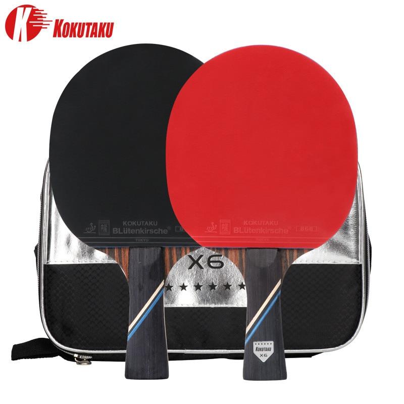 KOKUTAKU ITTF Profesional 6 Star Ping Pong Racket Ebony Carbon Table Tennis Racket Bat Set Double Face 868 Pimples In Rubber
